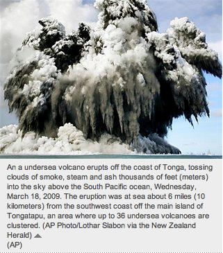 Tonga Underwater Volcano Erupts